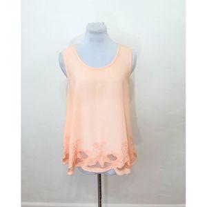 Ya Los Angles Peach Silk Blend Sheer Top - Size L